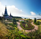 Doi Inthanon national park in Chiang Mai, Thailand. Naphamethinidon pagoda on the top of the mountain