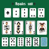 Playing cards spades set