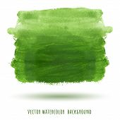 Abstract Green Watercolor Background With Brush Stroke