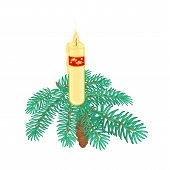 Christmas Candle On Spruce Branch With Pinecone Vector