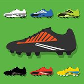 Soccer shoes icons set on green background