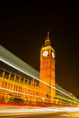 foto of london night  - NIght view on London most famous landmark Big Ben and Parliament House on river Thames - JPG