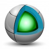 Illustration Green ball into a sphere on a white background. Cut.