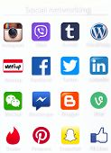 Social networking apps icons printed on paper