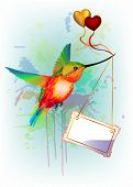 Card with rainbow humming-bird and place for text
