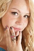 Woman Blond With Gecko Ring