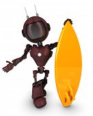 3D Render of a Robot surfer