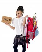 Sweet Little spanich schoolgirl Carrying Heavy Backpack Or Schoolbag Full