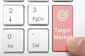 Red target market and symbol key on keyboard
