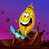 Cartoon Cocoa Pod Surfing On Chocolate Splash - Vector Illustration With Violet Background