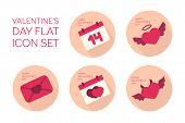 Valentines day flat icon set