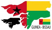 Guinea-Bissau - Map and flag vector