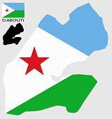 Djibouti - Map and flag vector