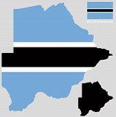 Botswana - Map and flag vector