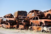 Stack Od Dameged Rusted Car Scraps On Junkyard