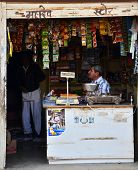 Jodhpur, India - January 1, 2015: Unidentified Indian Man Selling Snack At Market In Jodhpur.