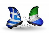 Two Butterflies With Flags On Wings As Symbol Of Relations Greece And Sierra Leone