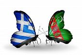 Two Butterflies With Flags On Wings As Symbol Of Relations Greece And Turkmenistan