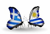 Two Butterflies With Flags On Wings As Symbol Of Relations Greece And Uruguay