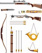 Постер, плакат: Set of hunting weapons