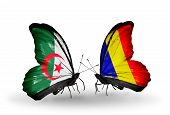 picture of chad  - Two butterflies with flags on wings as symbol of relations Algeria and Chad Romania - JPG