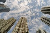 Apartment buildings in daytime under sky in Hong Kong, China, Asia.