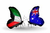 stock photo of kuwait  - Two butterflies with flags on wings as symbol of relations Kuwait and Australia - JPG