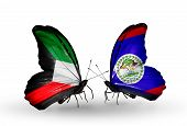 Two Butterflies With Flags On Wings As Symbol Of Relations Kuwait And Belize