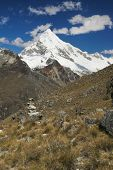 stock photo of andes  - Picturesque view of mountain Huascaran in Andes highest peak in Peru South America - JPG