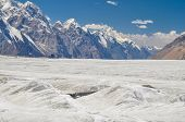 pic of shan  - Picturesque high altitude landscape on Engilchek glacier in Tian Shan mountain range in Kyrgyzstan - JPG