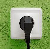 Wall Plug Socket On Cracked Wall