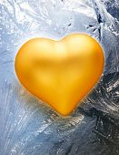 Golden Toy Heart On Frost