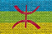 Berber Flag Painted On Brick Wall