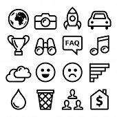 Internet, application, tchnology stroke line icons set