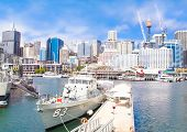 SYDNEY, AUSTRALIA-DEC 24,2014:City scape of Darling Harbor on Dec 24, 2014 in Sydney,Australia. The Harbor is a large recreational and pedestrian precinct that is situated on western outskirts of Sydney.