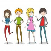 Group of four cartoon young people.