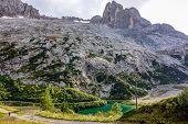 stock photo of lagos  - Lago di Fedaia and Marmolada in the Dolomites mountains of northern Italy - JPG