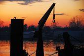 Boat Cran And Sunset At Sava River