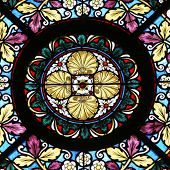 MARIJA BISTRICA, CROATIA - JULY 14: Stained glass window in Basilica Assumption of the Virgin Mary in Marija Bistrica, Croatia, on July 14, 2014