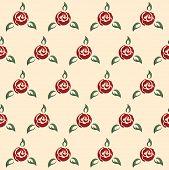 Rose seamless pattern, pin-up style