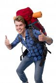 Young Backpacker Tourist Giving Thumbs Up Carrying Backpack Ready For Travel