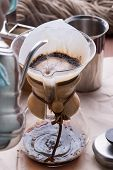 stock photo of dripping  - Drip coffee espresso hot drink for coffee time - JPG