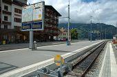 Railway Station In Grindelwald In Switzerland