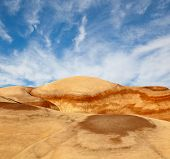 picture of petrified  - Landscape of beautiful desert nature in Utah Southwest USA colorful hills of petrified sand and blue sky with clouds - JPG