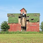 stock photo of cupola  - An rickety old red - JPG