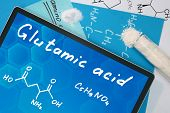 Tablet with the chemical formula of    Glutamic acid