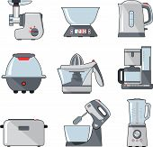 Set of household kitchen appliances