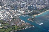 Aerial View Of Kewalo Basin Harbor, Kakaako, Ala Moana Beach Park In Honolulu