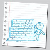 Schoolkid behind brick wall