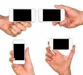 Male Hands Holding The White Smartphone With Black Screen In Different Ways  Isolated On White